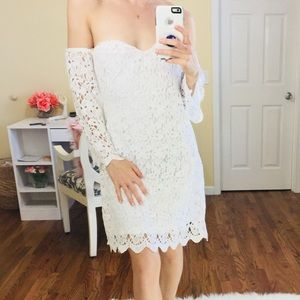 NEW Nasty Gal White Off Shoulder Lace Bardot Dress